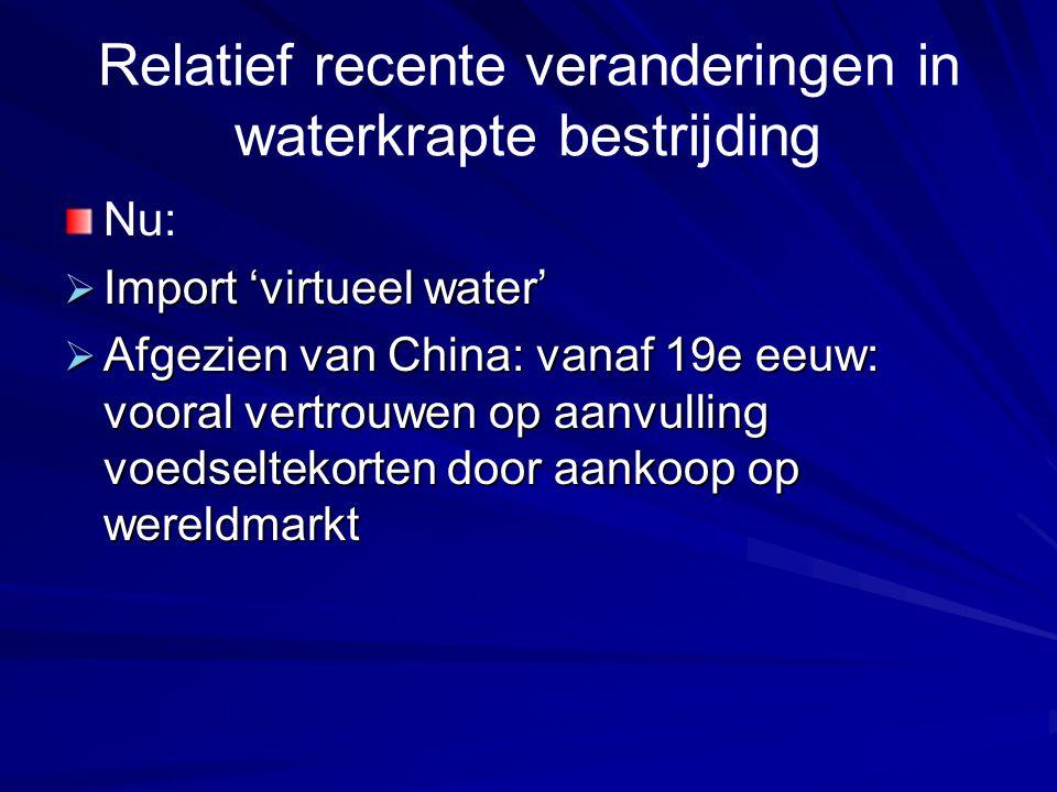 Relatief recente veranderingen in waterkrapte bestrijding Nu:  Import 'virtueel water'  Afgezien van China: vanaf 19e eeuw: vooral vertrouwen op aan
