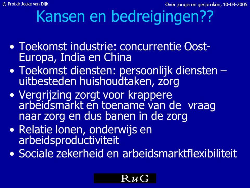 © Prof.dr Jouke van Dijk Over jongeren gesproken, 10-03-2005 Onderwijs en arbeidsmarkt • startkwalificaties: in Nederland 1 op de 3 niet noordelijke j