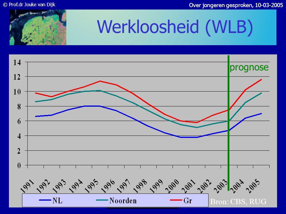 © Prof.dr Jouke van Dijk Over jongeren gesproken, 10-03-2005 Bron: PWR Banengroei per postcode gemiddeld 1999-2003