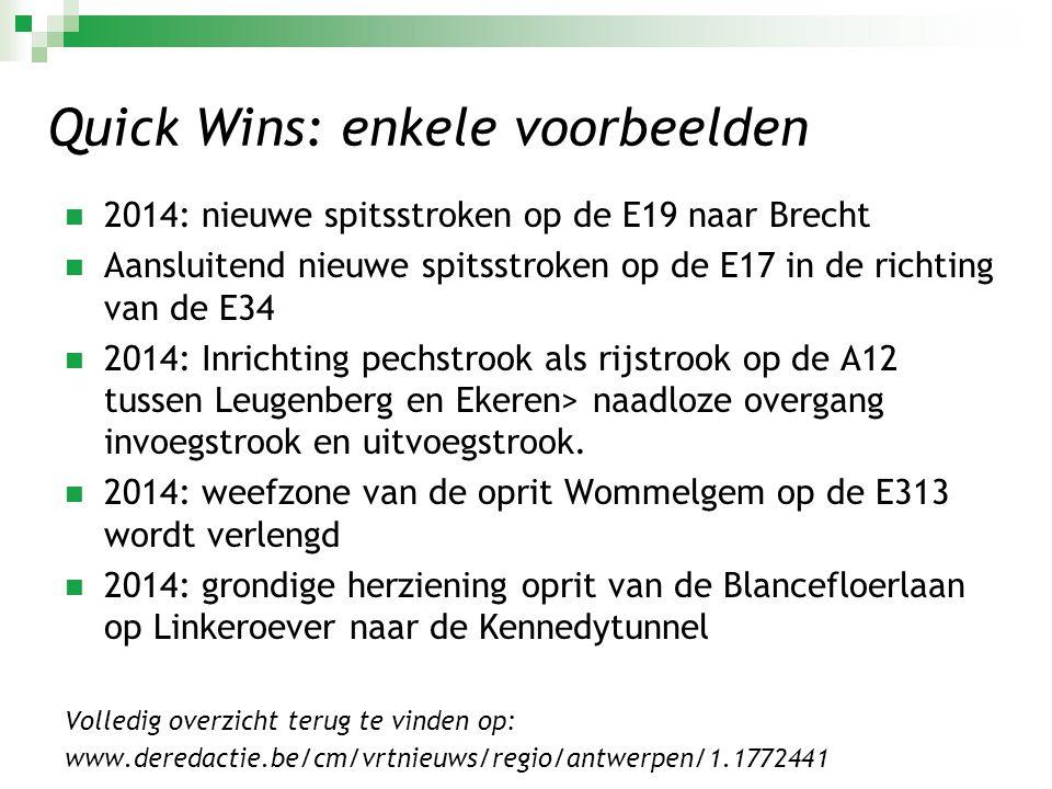 Quick Wins: enkele voorbeelden  2014: nieuwe spitsstroken op de E19 naar Brecht  Aansluitend nieuwe spitsstroken op de E17 in de richting van de E34