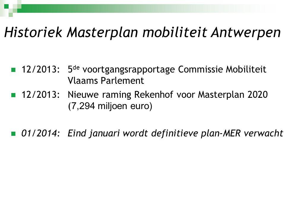  12/2013: 5 de voortgangsrapportage Commissie Mobiliteit Vlaams Parlement  12/2013:Nieuwe raming Rekenhof voor Masterplan 2020 ( 7,294 miljoen euro)