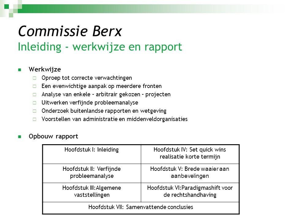 Commissie Berx Inleiding - werkwijze en rapport  Werkwijze  Oproep tot correcte verwachtingen  Een evenwichtige aanpak op meerdere fronten  Analys