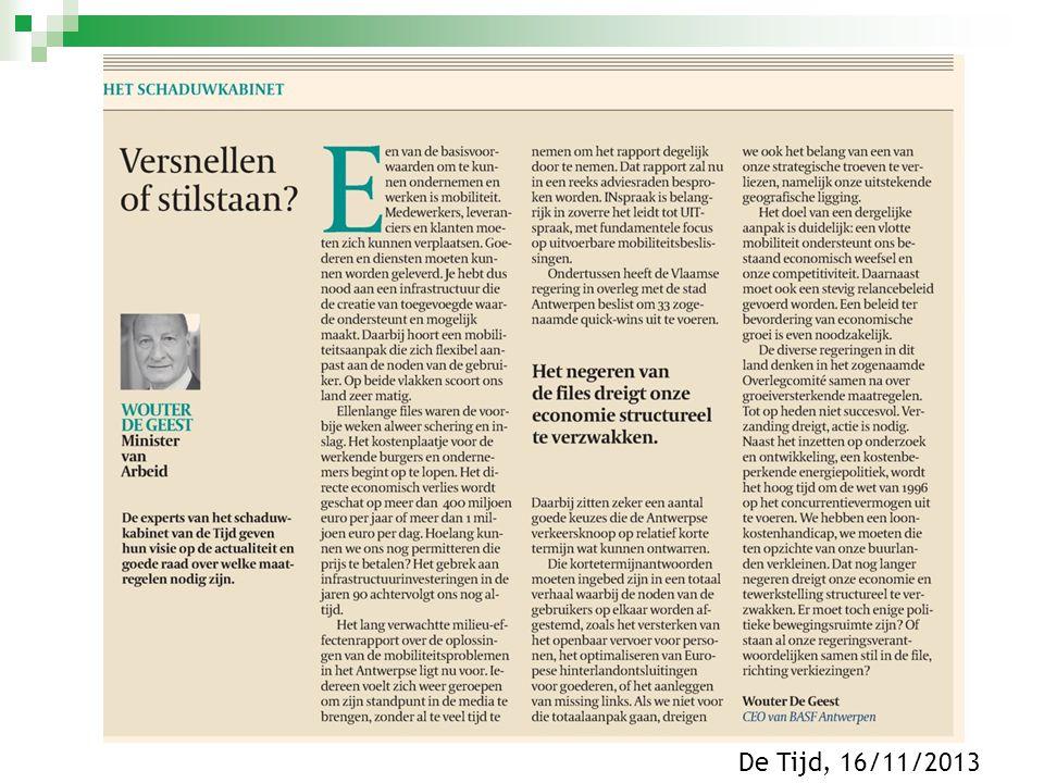  12/2013: 5 de voortgangsrapportage Commissie Mobiliteit Vlaams Parlement  12/2013:Nieuwe raming Rekenhof voor Masterplan 2020 ( 7,294 miljoen euro)  01/2014:Eind januari wordt definitieve plan-MER verwacht Historiek Masterplan mobiliteit Antwerpen