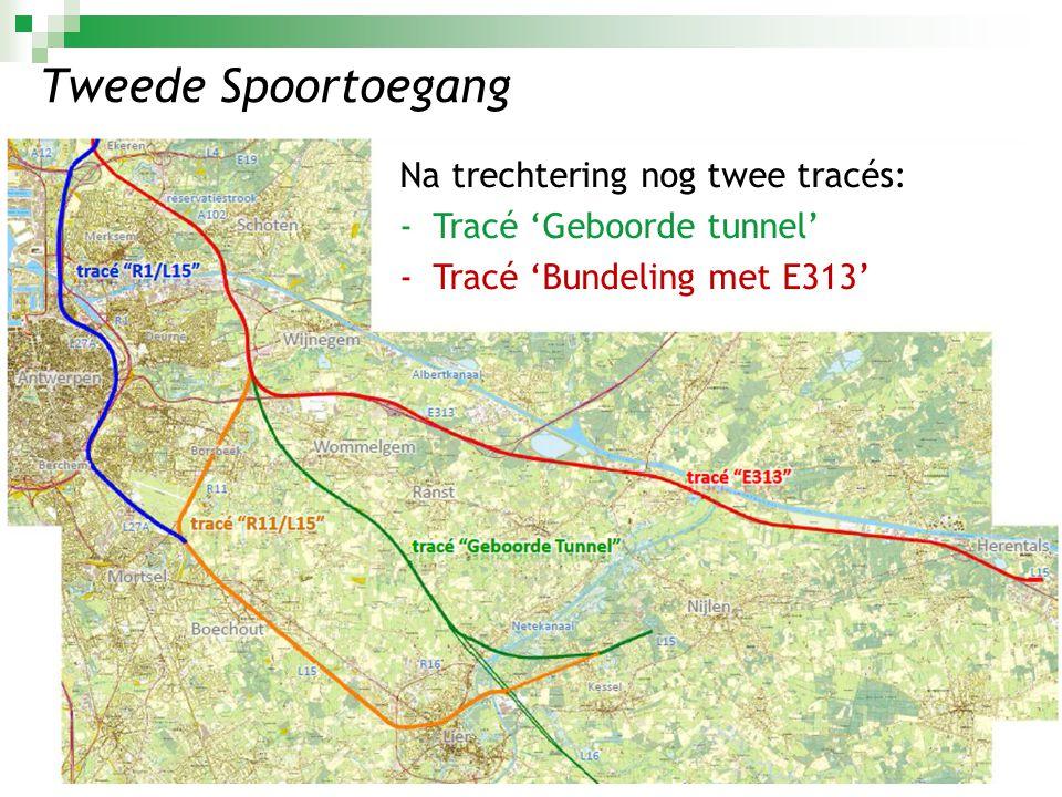 Tweede Spoortoegang Na trechtering nog twee tracés: -Tracé 'Geboorde tunnel' -Tracé 'Bundeling met E313'