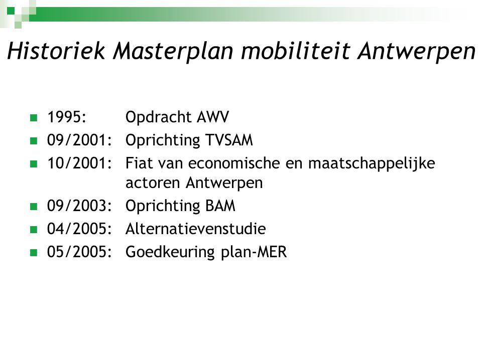 Historiek Masterplan mobiliteit Antwerpen  1995: Opdracht AWV  09/2001: Oprichting TVSAM  10/2001:Fiat van economische en maatschappelijke actoren