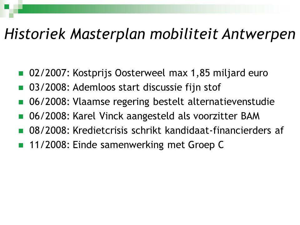  03/2009: Arup-sum stelt alternatievenstudie voor  04/2009: Indiening bouwaanvraag door BAM  07/2009: Vervolgstudie Arup-sum  07/2009: Klacht restaurant Het Pomphuis  10/2009: Volksraadpleging Antwerpen (59,24% N/40,76% J)  01/2010: Raming Rekenhof totale Masterplan: 4,2 miljard euro Historiek Masterplan mobiliteit Antwerpen