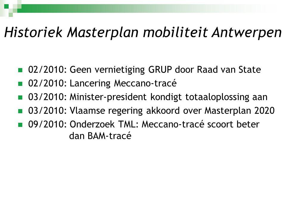  09/2010: Discussie binnen Vlaamse regering  09/2010: Masterplan wordt geactualiseerd (+R11/R11bis en A102)  11/2010: Opdracht minister Crevits en Vlaamse regering - opmaak streefbeeld R11  12/2011: Goedkeuring procesnota Poort Oost  12/2011: Kennisgevingsdossier ter inzage Historiek Masterplan mobiliteit Antwerpen