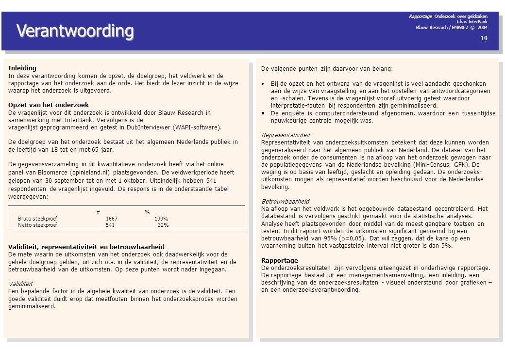 Rapportage Onderzoek over geldzaken t.b.v. InterBank Blauw Research / B4890-2 © 2004 10 Verantwoording Inleiding In deze verantwoording komen de opzet