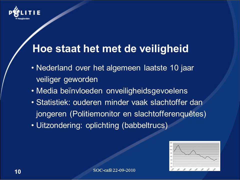10 SOC-café 22-09-2010 Hoe staat het met de veiligheid •Nederland over het algemeen laatste 10 jaar veiliger geworden •Media beïnvloeden onveiligheids