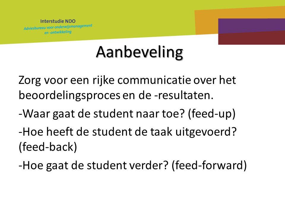 Aanbeveling Zorg voor een rijke communicatie over het beoordelingsproces en de -resultaten. -Waar gaat de student naar toe? (feed-up) -Hoe heeft de st