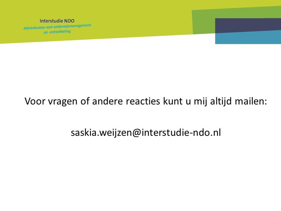 Voor vragen of andere reacties kunt u mij altijd mailen: saskia.weijzen@interstudie-ndo.nl