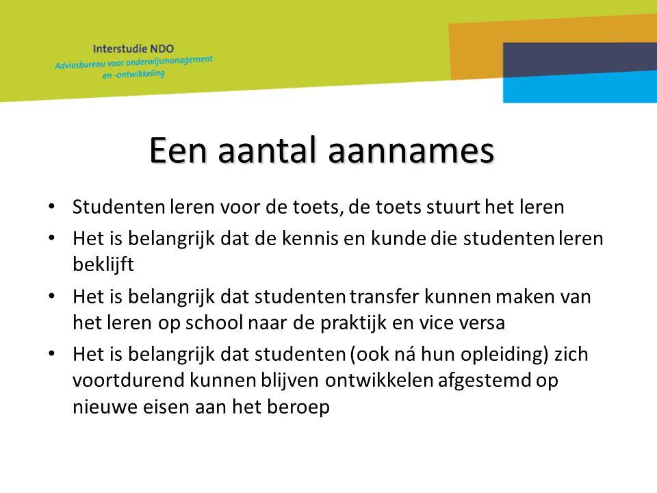 Een aantal aannames • Studenten leren voor de toets, de toets stuurt het leren • Het is belangrijk dat de kennis en kunde die studenten leren beklijft
