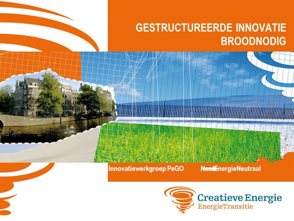 GESTRUCTUREERDE INNOVATIE BROODNODIG Innovatiewerkgroep PeGO NaarEnergieNeutraal