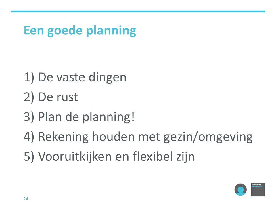 24 Een goede planning 1) De vaste dingen 2) De rust 3) Plan de planning.