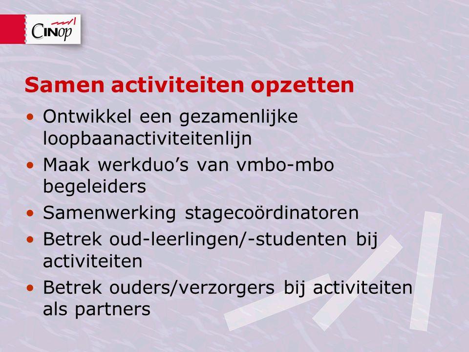 Samen activiteiten opzetten •Ontwikkel een gezamenlijke loopbaanactiviteitenlijn •Maak werkduo's van vmbo-mbo begeleiders •Samenwerking stagecoördinat