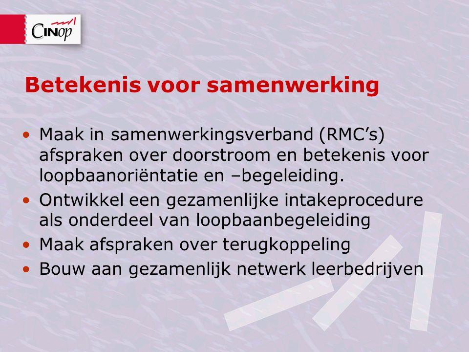 Betekenis voor samenwerking •Maak in samenwerkingsverband (RMC's) afspraken over doorstroom en betekenis voor loopbaanoriëntatie en –begeleiding. •Ont