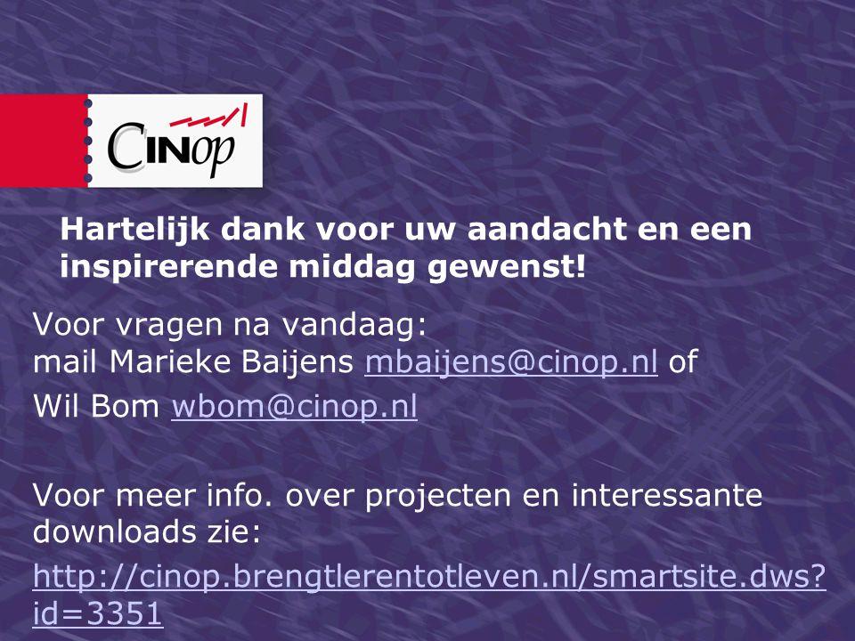 Hartelijk dank voor uw aandacht en een inspirerende middag gewenst! Voor vragen na vandaag: mail Marieke Baijens mbaijens@cinop.nl ofmbaijens@cinop.nl