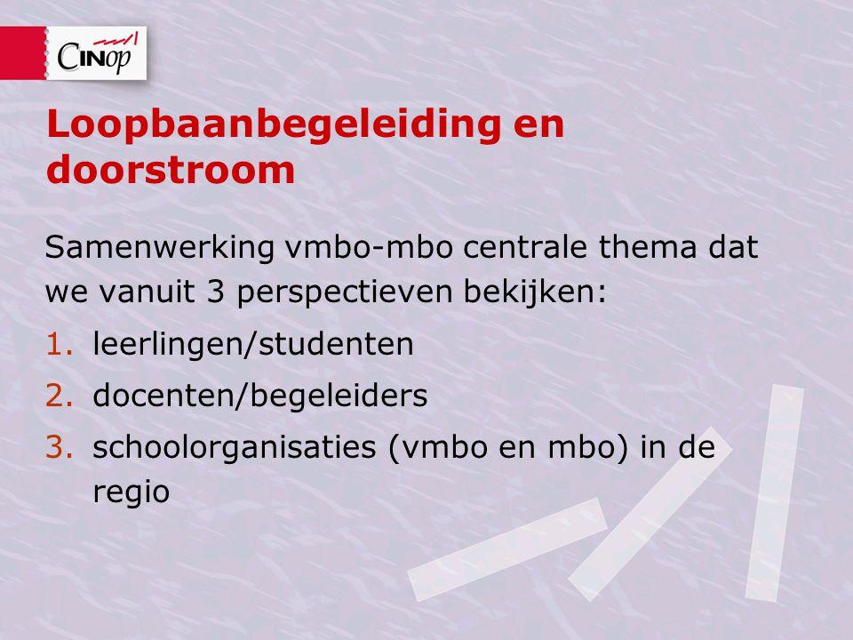 Loopbaanbegeleiding en doorstroom Samenwerking vmbo-mbo centrale thema dat we vanuit 3 perspectieven bekijken: 1.leerlingen/studenten 2.docenten/begel