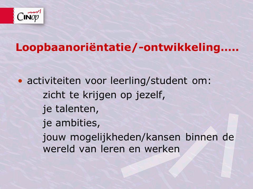 Loopbaanoriëntatie/-ontwikkeling….. •activiteiten voor leerling/student om: zicht te krijgen op jezelf, je talenten, je ambities, jouw mogelijkheden/k