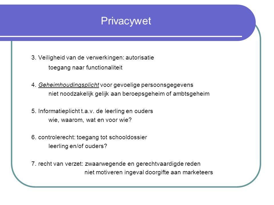 Privacywet 3.Veiligheid van de verwerkingen: autorisatie toegang naar functionaliteit 4.