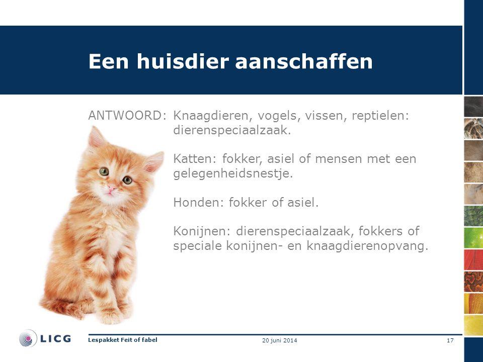 Een huisdier aanschaffen ANTWOORD:Knaagdieren, vogels, vissen, reptielen: dierenspeciaalzaak. Katten: fokker, asiel of mensen met een gelegenheidsnest