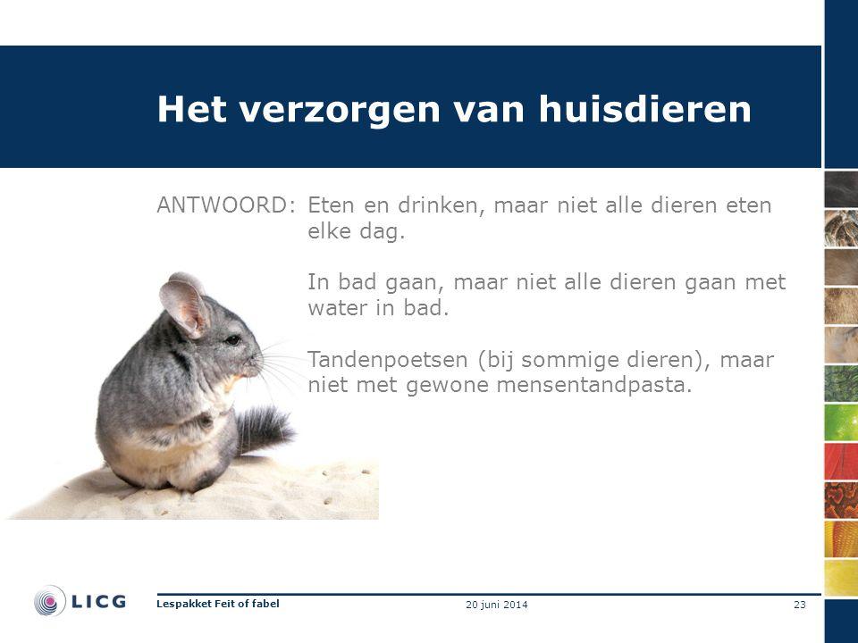 Het verzorgen van huisdieren ANTWOORD:Eten en drinken, maar niet alle dieren eten elke dag. In bad gaan, maar niet alle dieren gaan met water in bad.