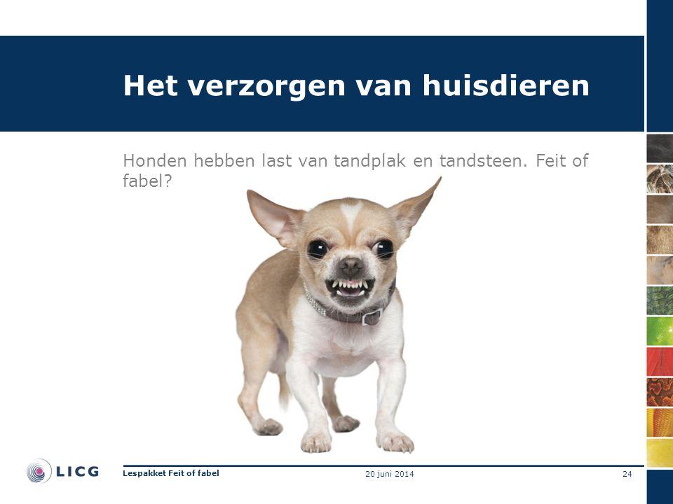 Het verzorgen van huisdieren Honden hebben last van tandplak en tandsteen. Feit of fabel? 24 Lespakket Feit of fabel 20 juni 2014