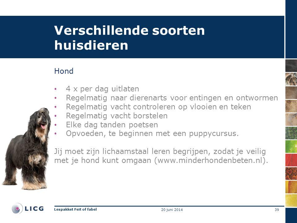 Verschillende soorten huisdieren Hond • 4 x per dag uitlaten • Regelmatig naar dierenarts voor entingen en ontwormen • Regelmatig vacht controleren op vlooien en teken • Regelmatig vacht borstelen • Elke dag tanden poetsen • Opvoeden, te beginnen met een puppycursus.