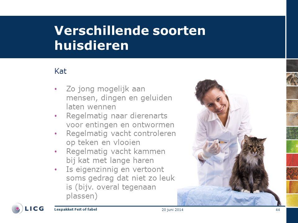 Verschillende soorten huisdieren Kat • Zo jong mogelijk aan mensen, dingen en geluiden laten wennen • Regelmatig naar dierenarts voor entingen en ontw