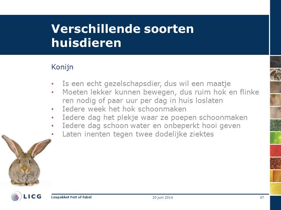 Verschillende soorten huisdieren Konijn • Is een echt gezelschapsdier, dus wil een maatje • Moeten lekker kunnen bewegen, dus ruim hok en flinke ren nodig of paar uur per dag in huis loslaten • Iedere week het hok schoonmaken • Iedere dag het plekje waar ze poepen schoonmaken • Iedere dag schoon water en onbeperkt hooi geven • Laten inenten tegen twee dodelijke ziektes 47 Lespakket Feit of fabel 20 juni 2014
