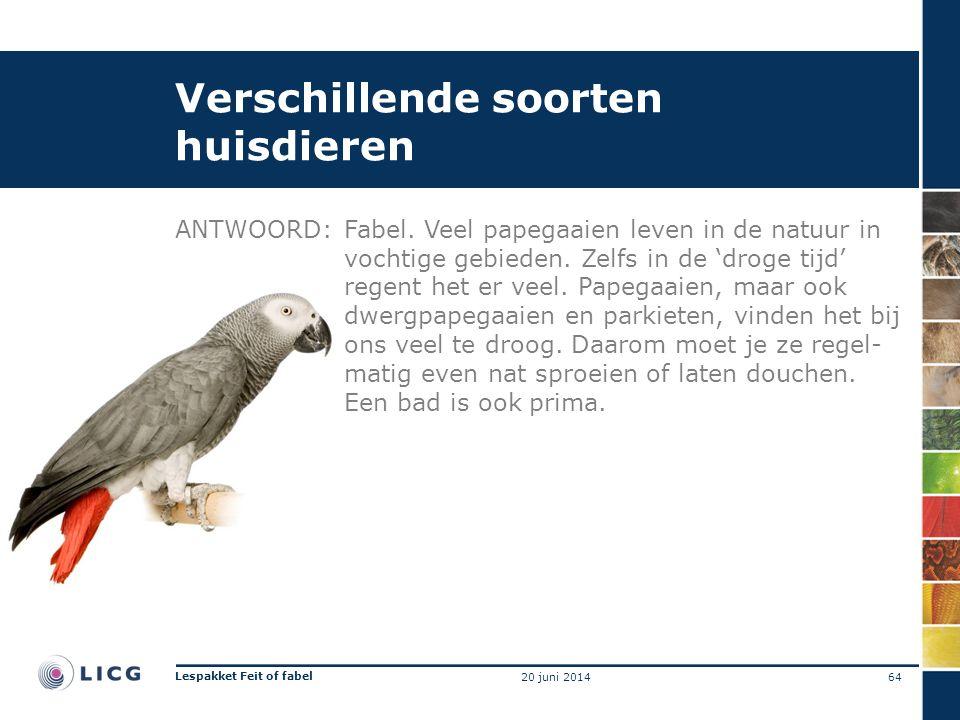Verschillende soorten huisdieren ANTWOORD:Fabel. Veel papegaaien leven in de natuur in vochtige gebieden. Zelfs in de 'droge tijd' regent het er veel.