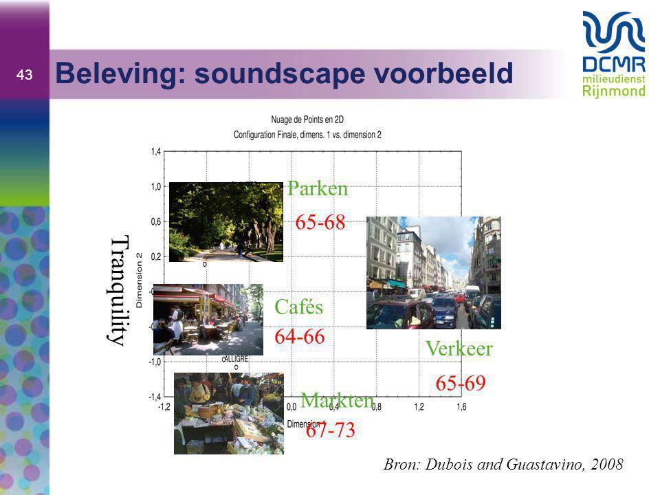 43 Beleving: soundscape voorbeeld Tranquility Bron: Dubois and Guastavino, 2008 Parken 65-68 Cafés 64-66 67-73 Markten Verkeer 65-69
