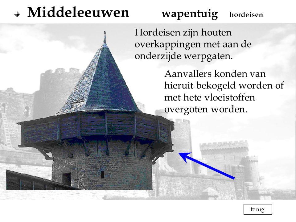 terug Middeleeuwen wapentuig hordeisen Hordeisen zijn houten overkappingen met aan de onderzijde werpgaten. Aanvallers konden van hieruit bekogeld wor