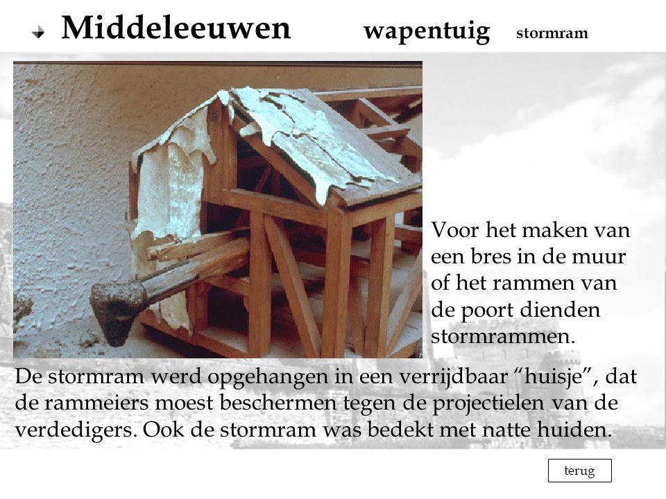 terug Middeleeuwen wapentuig stormram Voor het maken van een bres in de muur of het rammen van de poort dienden stormrammen. De stormram werd opgehang