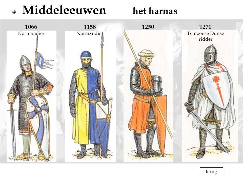 Middeleeuwen het harnas 1066 Normandier 1158 Normandier 12501270 Teutoonse Duitse ridder terug