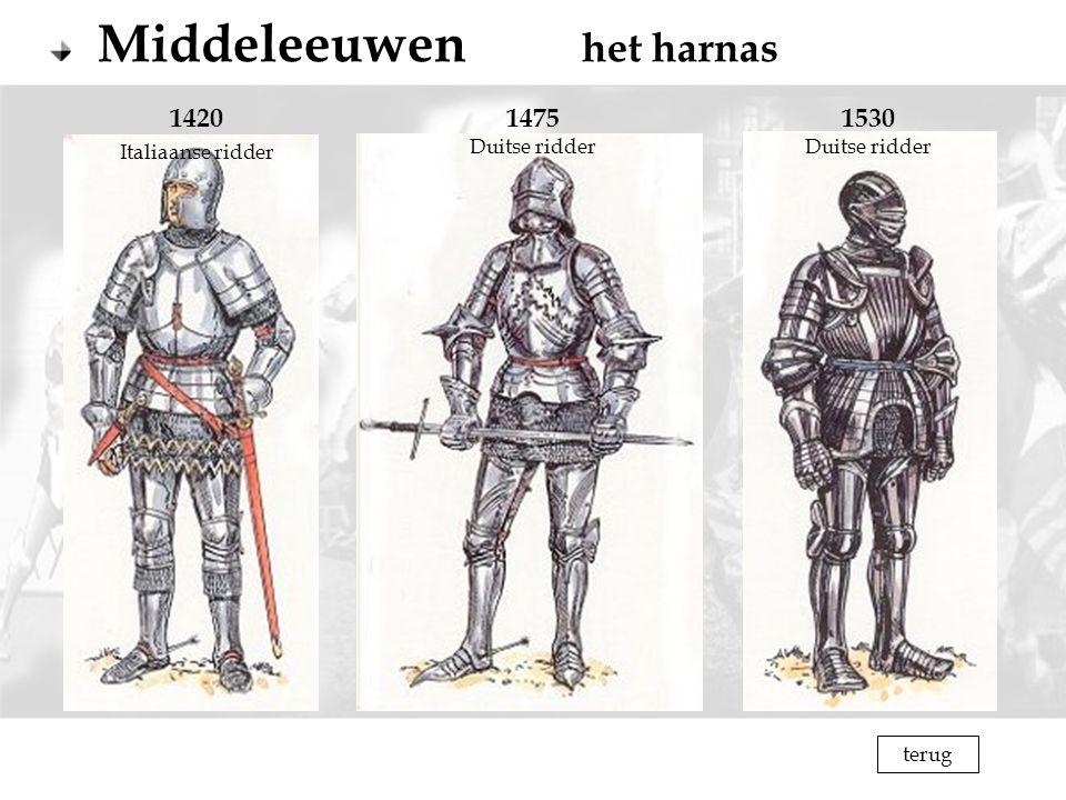 Middeleeuwen het harnas 1420 Italiaanse ridder 1475 Duitse ridder 1530 Duitse ridder terug