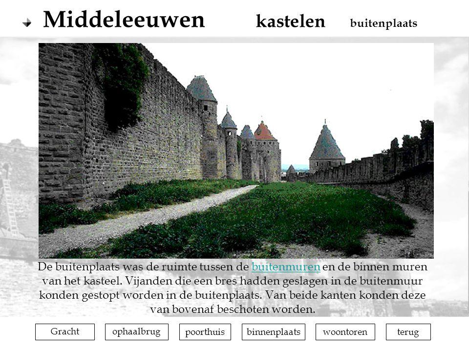 terugophaalbrugGrachtpoorthuisbinnenplaatswoontoren De buitenplaats was de ruimte tussen de buitenmuren en de binnen muren van het kasteel. Vijanden d