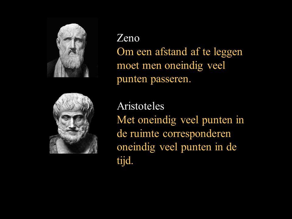 Zeno Om een afstand af te leggen moet men oneindig veel punten passeren. Aristoteles Met oneindig veel punten in de ruimte corresponderen oneindig vee