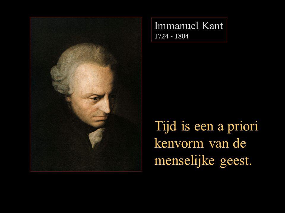 Immanuel Kant 1724 - 1804 Tijd is een a priori kenvorm van de menselijke geest.