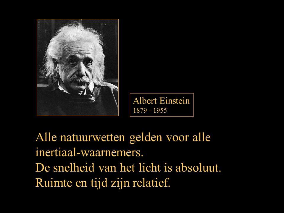 Albert Einstein 1879 - 1955 Alle natuurwetten gelden voor alle inertiaal-waarnemers. De snelheid van het licht is absoluut. Ruimte en tijd zijn relati