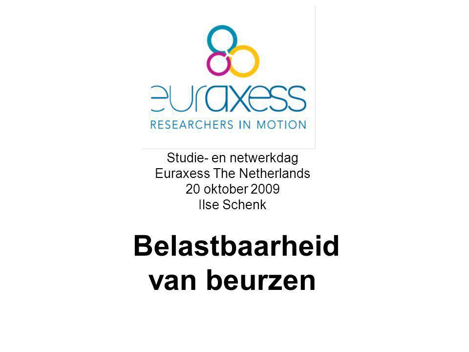 Studie- en netwerkdag Euraxess The Netherlands 20 oktober 2009 Ilse Schenk Belastbaarheid van beurzen