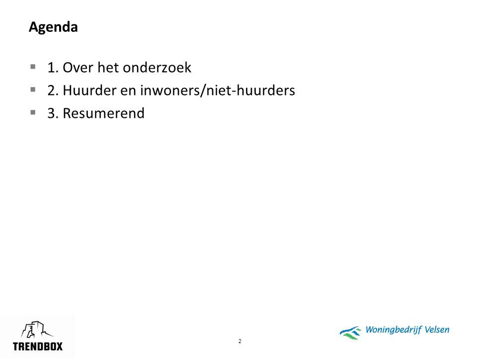 2 Agenda  1. Over het onderzoek  2. Huurder en inwoners/niet-huurders  3. Resumerend
