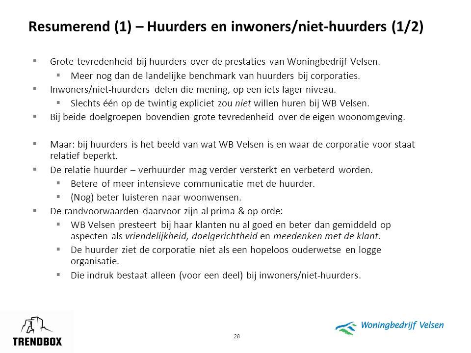 28 Resumerend (1) – Huurders en inwoners/niet-huurders (1/2)  Grote tevredenheid bij huurders over de prestaties van Woningbedrijf Velsen.  Meer nog