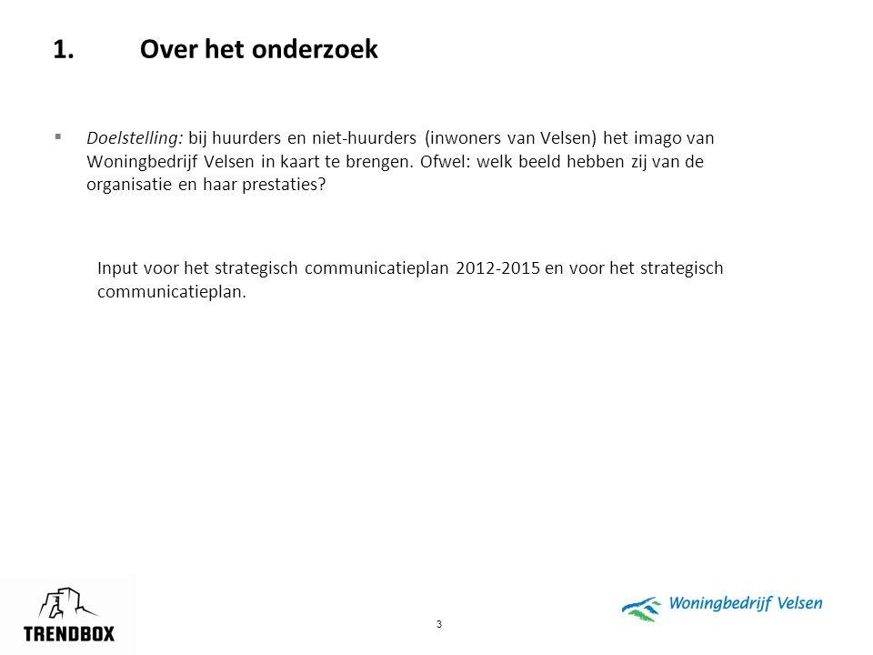 3 1.Over het onderzoek  Doelstelling: bij huurders en niet-huurders (inwoners van Velsen) het imago van Woningbedrijf Velsen in kaart te brengen. Ofw