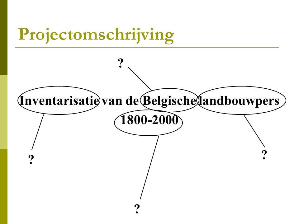 Projectomschrijving Inventarisatie van de Belgische landbouwpers 1800-2000 ? ? ? ?