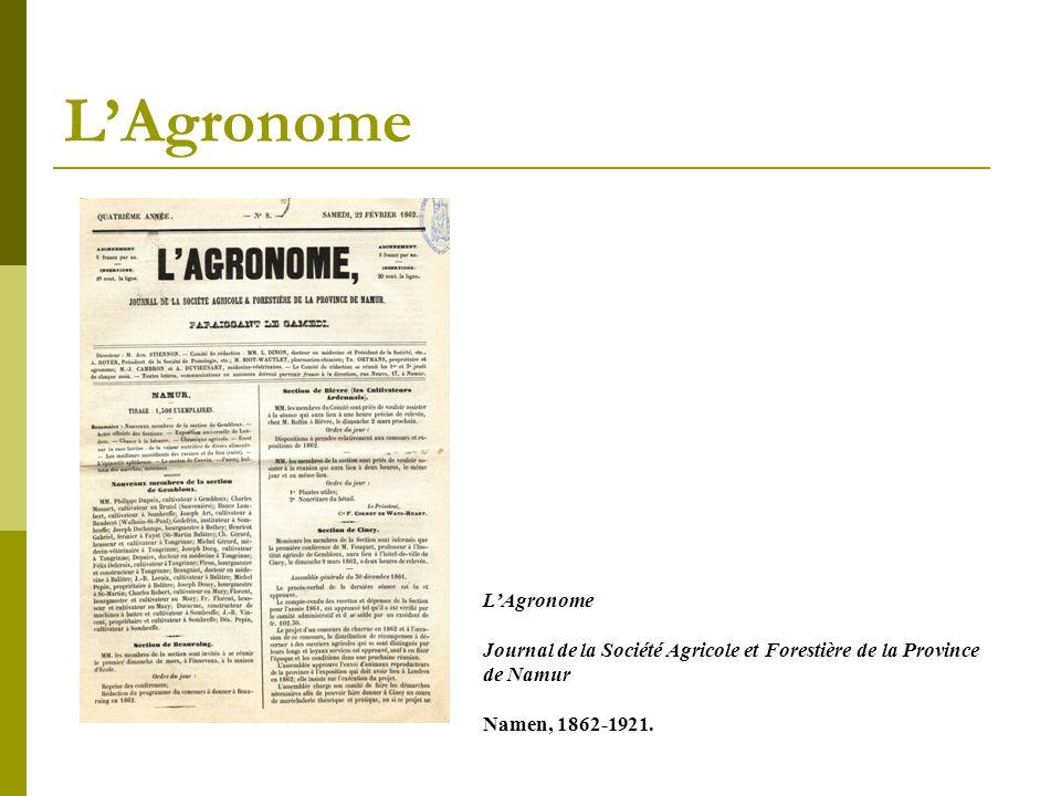 L'Agronome Journal de la Société Agricole et Forestière de la Province de Namur Namen, 1862-1921.