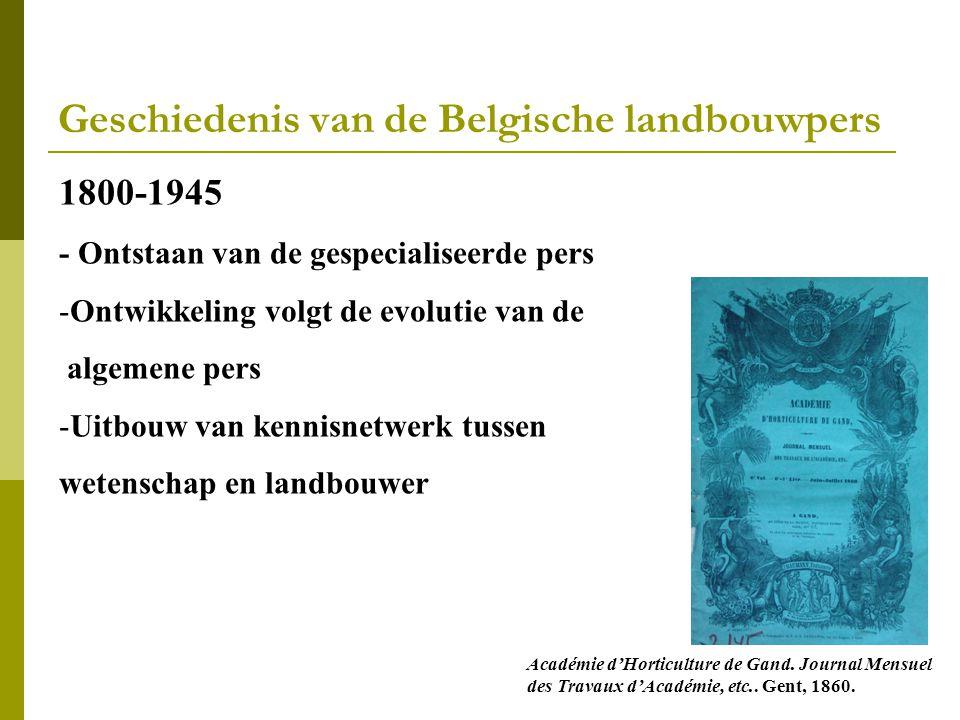 Geschiedenis van de Belgische landbouwpers 1800-1945 - Ontstaan van de gespecialiseerde pers -Ontwikkeling volgt de evolutie van de algemene pers -Uitbouw van kennisnetwerk tussen wetenschap en landbouwer Académie d'Horticulture de Gand.