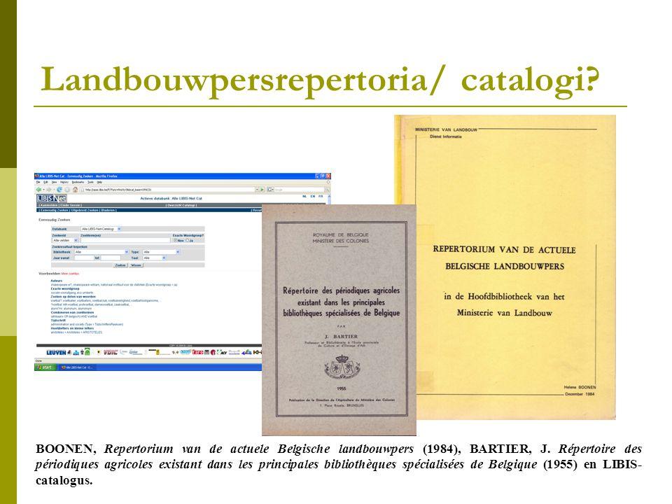 Landbouwpersrepertoria/ catalogi.