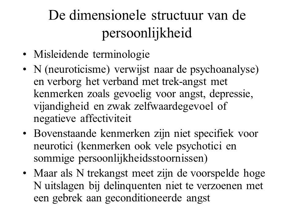 De dimensionele structuur van de persoonlijkheid •Misleidende terminologie •N (neuroticisme) verwijst naar de psychoanalyse) en verborg het verband me