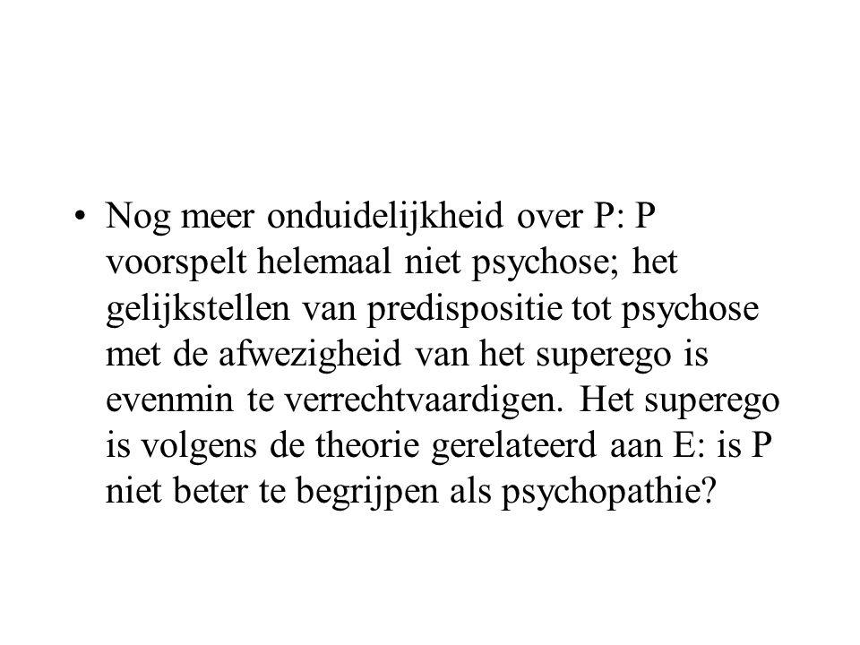 •Nog meer onduidelijkheid over P: P voorspelt helemaal niet psychose; het gelijkstellen van predispositie tot psychose met de afwezigheid van het supe